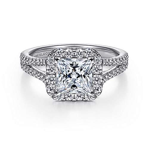 Gabriel - Savannah Platinum Princess Cut Halo Engagement Ring