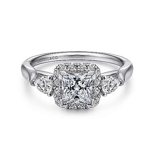 Gabriel - Savoire 14k White Gold Princess Cut Halo Engagement Ring