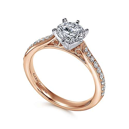 Sawyer 14k White And Rose Gold Round Straight Engagement Ring angle 3