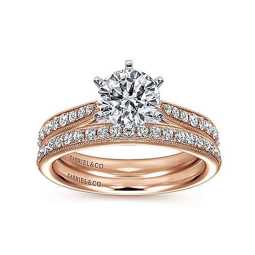 Sawyer 14k White And Rose Gold Round Straight Engagement Ring angle 4