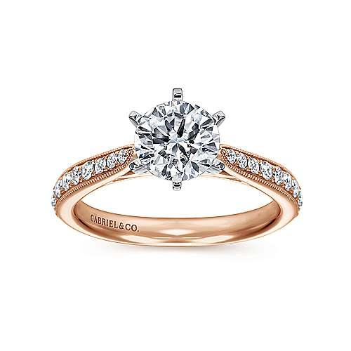 Sawyer 14k White And Rose Gold Round Straight Engagement Ring angle 5