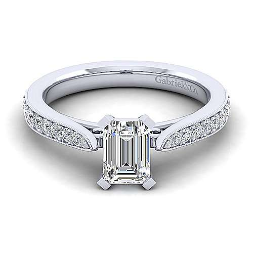 Gabriel - Sawyer 14k White Gold Emerald Cut Straight Engagement Ring