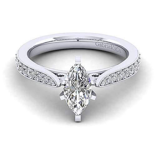 Gabriel - Sawyer 14k White Gold Marquise  Straight Engagement Ring