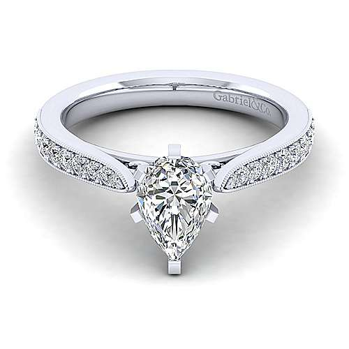 Gabriel - Sawyer 14k White Gold Pear Shape Straight Engagement Ring