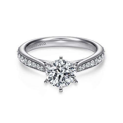 Gabriel - Sawyer 14k White Gold Round Straight Engagement Ring