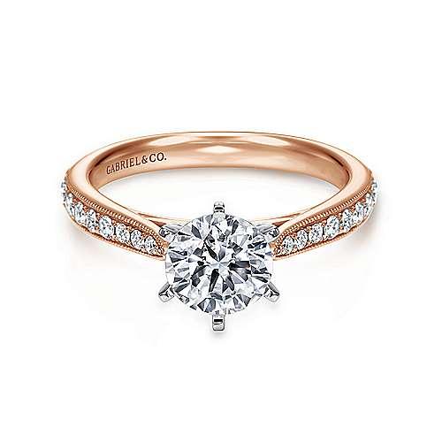 Gabriel - Sawyer 14k White/rose Gold Round Straight Engagement Ring