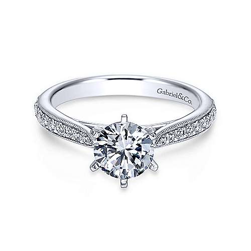 Gabriel - Sawyer 18k White Gold Round Straight Engagement Ring