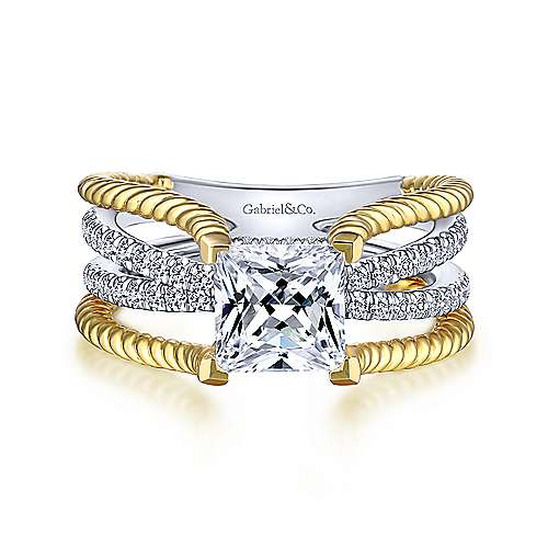 Saylor 14k Yellow And White Gold Princess Cut Twisted Engagement Ring angle 1