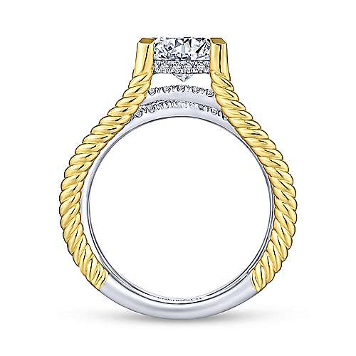 Saylor 14k Yellow And White Gold Princess Cut Twisted Engagement Ring angle 2