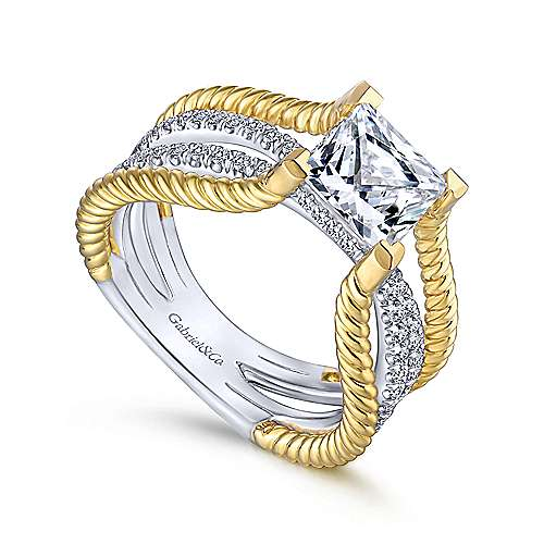 Saylor 14k Yellow And White Gold Princess Cut Twisted Engagement Ring angle 3