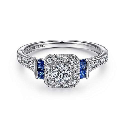 Scarlett 14k White Gold Round 3 Stones Halo Engagement Ring