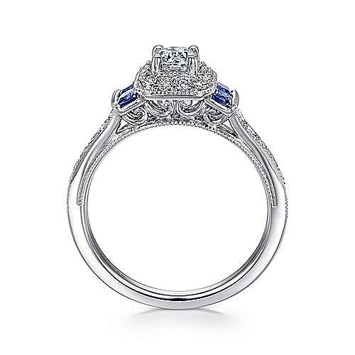 Scarlett 14k White Gold Round 3 Stones Halo Engagement Ring angle 2