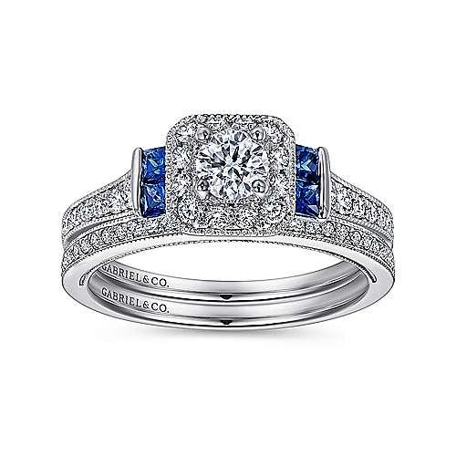 Scarlett 14k White Gold Round 3 Stones Halo Engagement Ring angle 4