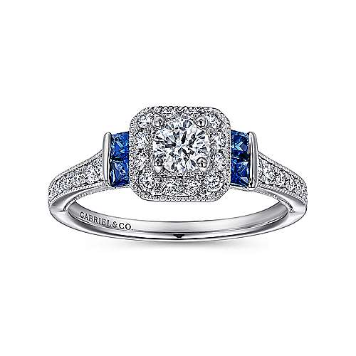 Scarlett 14k White Gold Round 3 Stones Halo Engagement Ring angle 5