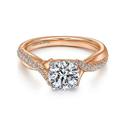 Gabriel - Scout 14k White And Rose Gold Round Twisted Engagement Ring