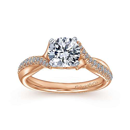 Scout 14k White And Rose Gold Round Twisted Engagement Ring angle 5