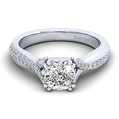 Gabriel - Scout 14k White Gold Cushion Cut Twisted Engagement Ring
