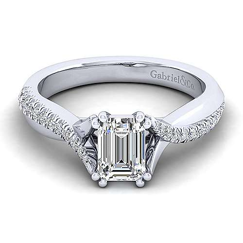 Gabriel - Scout 14k White Gold Emerald Cut Twisted Engagement Ring