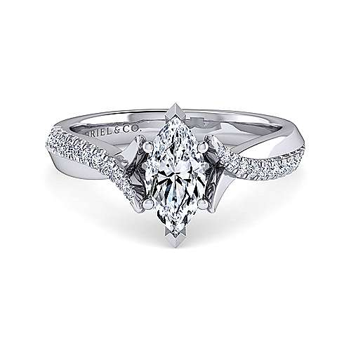 Gabriel - Scout 14k White Gold Marquise  Twisted Engagement Ring