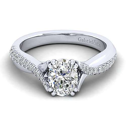Gabriel - Scout 14k White Gold Oval Twisted Engagement Ring