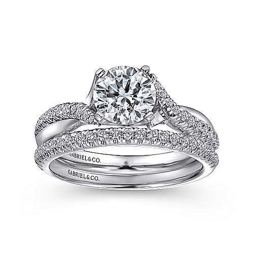 Scout 14k White Gold Round Twisted Engagement Ring angle 4