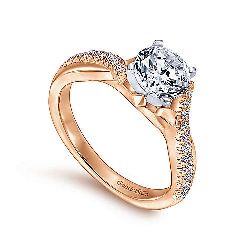 Scout 14k White/rose Gold Round Twisted Engagement Ring angle 3