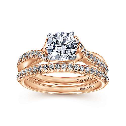 Scout 14k White/rose Gold Round Twisted Engagement Ring angle 4