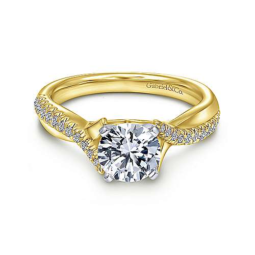 Gabriel - Scout 14k Yellow/white Gold Round Twisted Engagement Ring