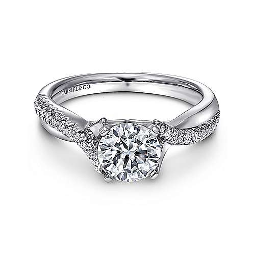 Gabriel - Scout 18k White Gold Round Twisted Engagement Ring