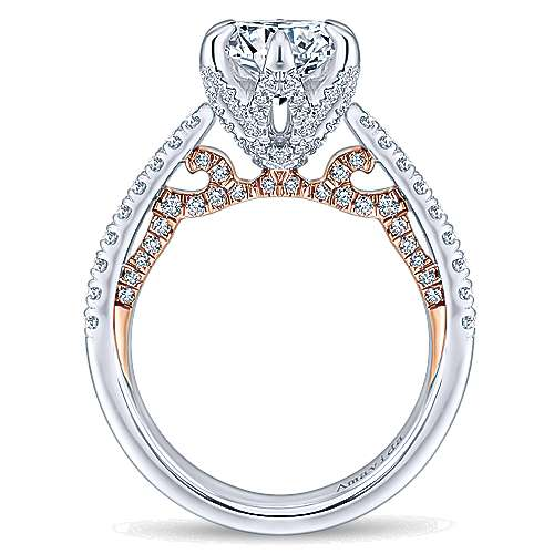 Season 18k White And Rose Gold Round Straight Engagement Ring