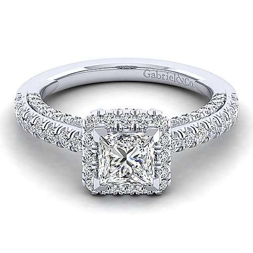 Gabriel - Sedona 14k White Gold Princess Cut Halo Engagement Ring