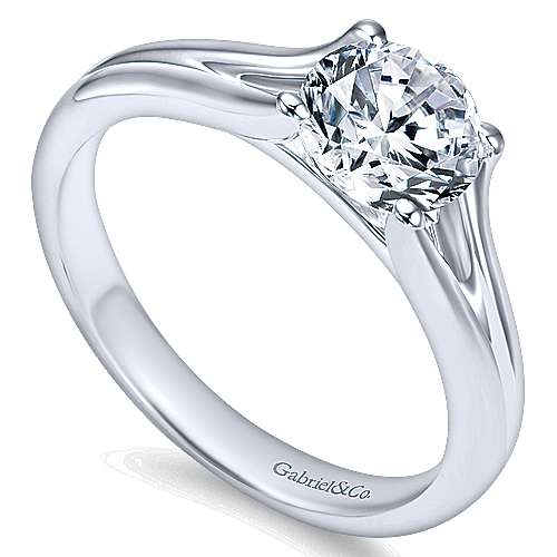 Selah 14k White Gold Round Solitaire Engagement Ring