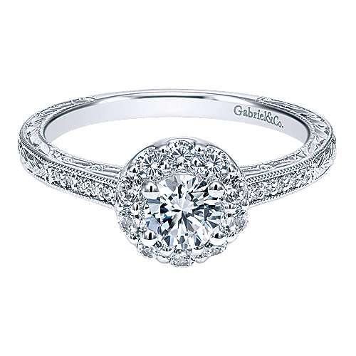 Gabriel - Selenis 14k White Gold Round Halo Engagement Ring