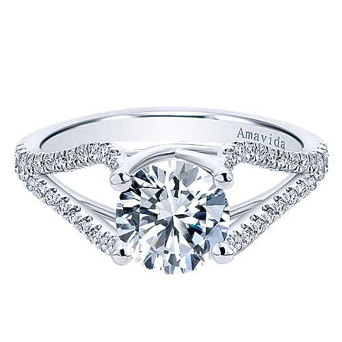 Gabriel - Selma 18k White Gold Round Split Shank Engagement Ring