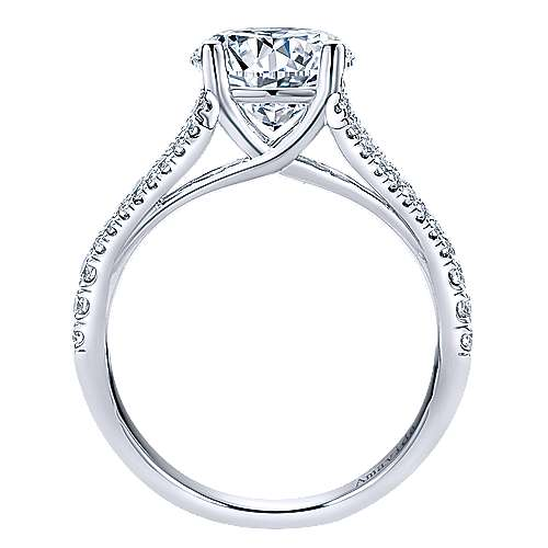 Selma 18k White Gold Round Split Shank Engagement Ring angle 2