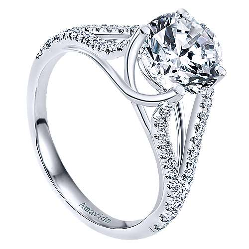 Selma 18k White Gold Round Split Shank Engagement Ring angle 3