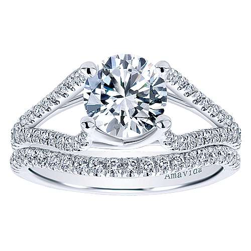 Selma 18k White Gold Round Split Shank Engagement Ring angle 4