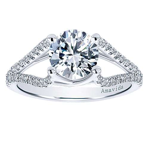 Selma 18k White Gold Round Split Shank Engagement Ring angle 5