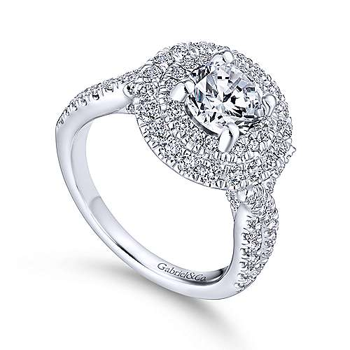 Senna 14k White Gold Round Double Halo Engagement Ring angle 3