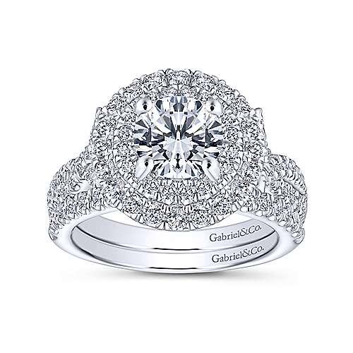 Senna 14k White Gold Round Double Halo Engagement Ring angle 4