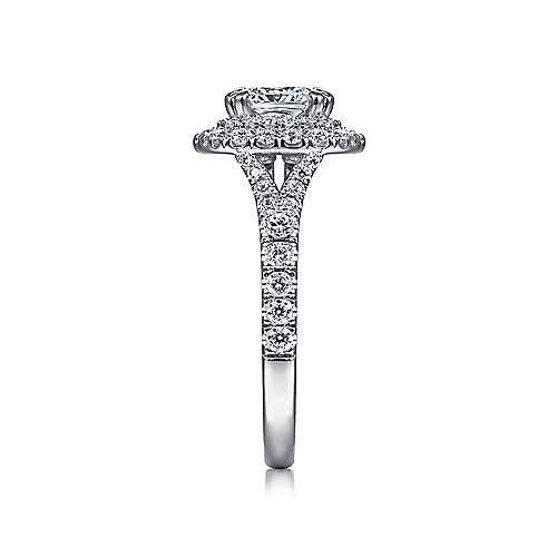 Sequoia 14k White Gold Cushion Cut Double Halo Engagement Ring angle 5