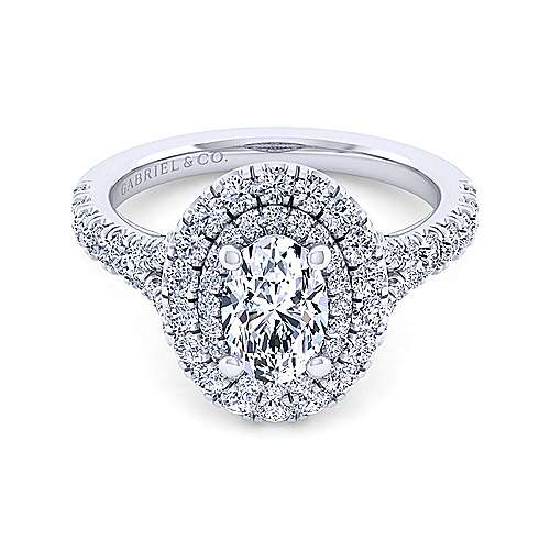 Sequoia 14k White Gold Oval Double Halo Engagement Ring angle 1