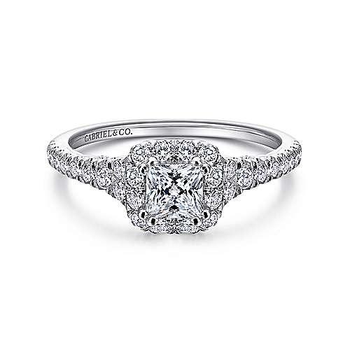Gabriel - Seren 14k White Gold Princess Cut Halo Engagement Ring
