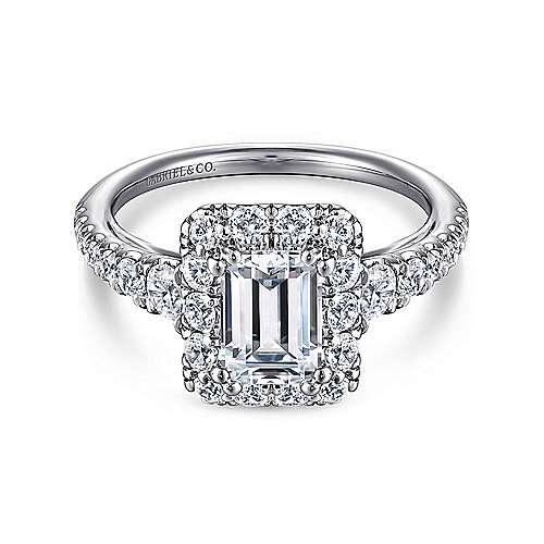 Serena 14k White Gold Emerald Cut Halo Engagement Ring