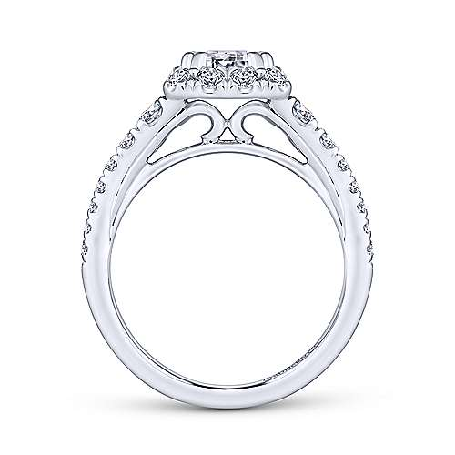 Serena 14k White Gold Emerald Cut Halo Engagement Ring angle 2
