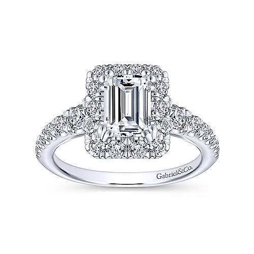 Serena 14k White Gold Emerald Cut Halo Engagement Ring angle 5