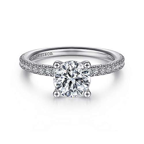 Gabriel - Serenity 14k White Gold Round Straight Engagement Ring