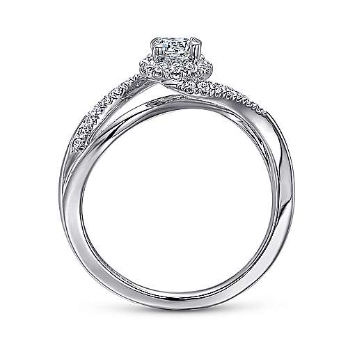 Seville 14k White Gold Round Bypass Engagement Ring angle 2