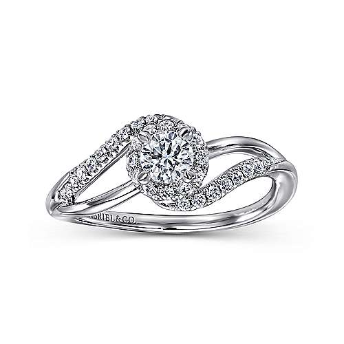 Seville 14k White Gold Round Bypass Engagement Ring angle 5