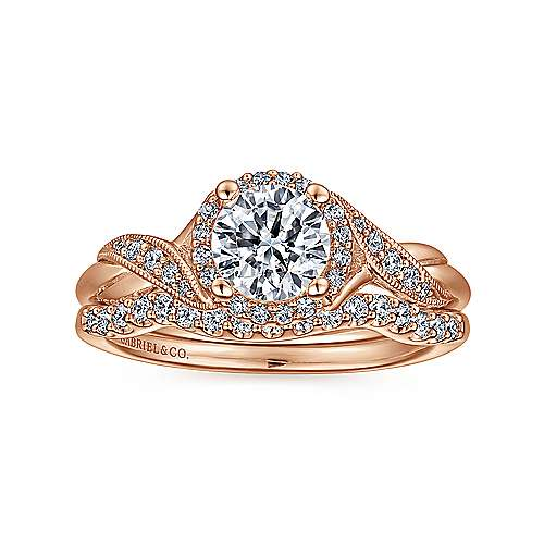 Shae 14k Rose Gold Round Halo Engagement Ring angle 4